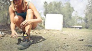 woman tying shoestring