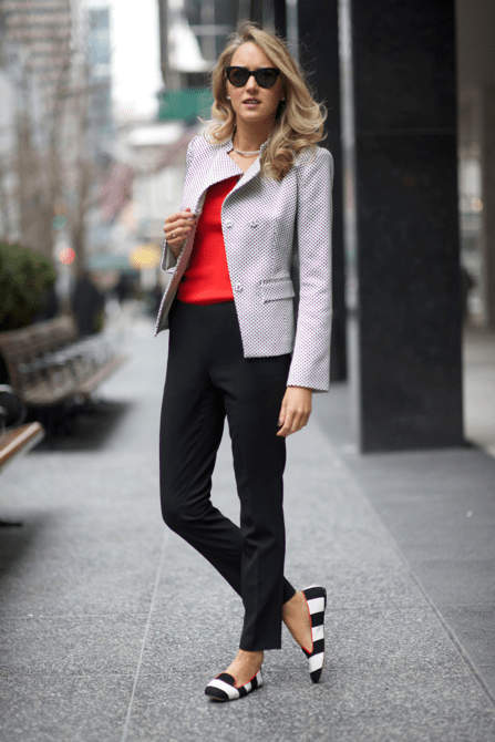 Black pant with a red top and grey blazer
