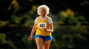 Mature woman running in race