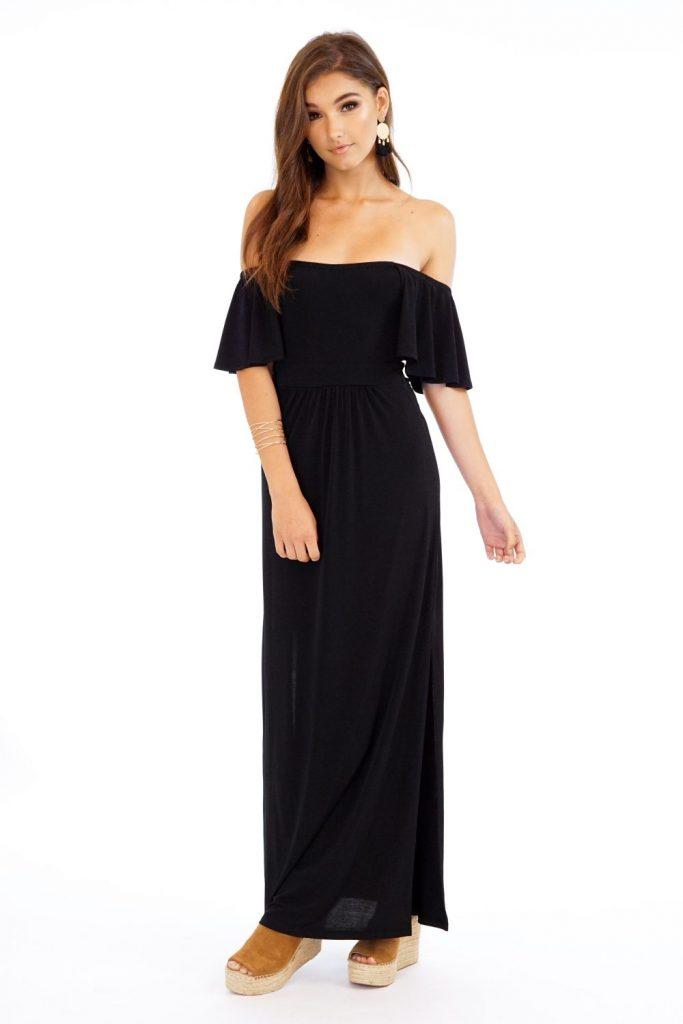 A black maxi dress