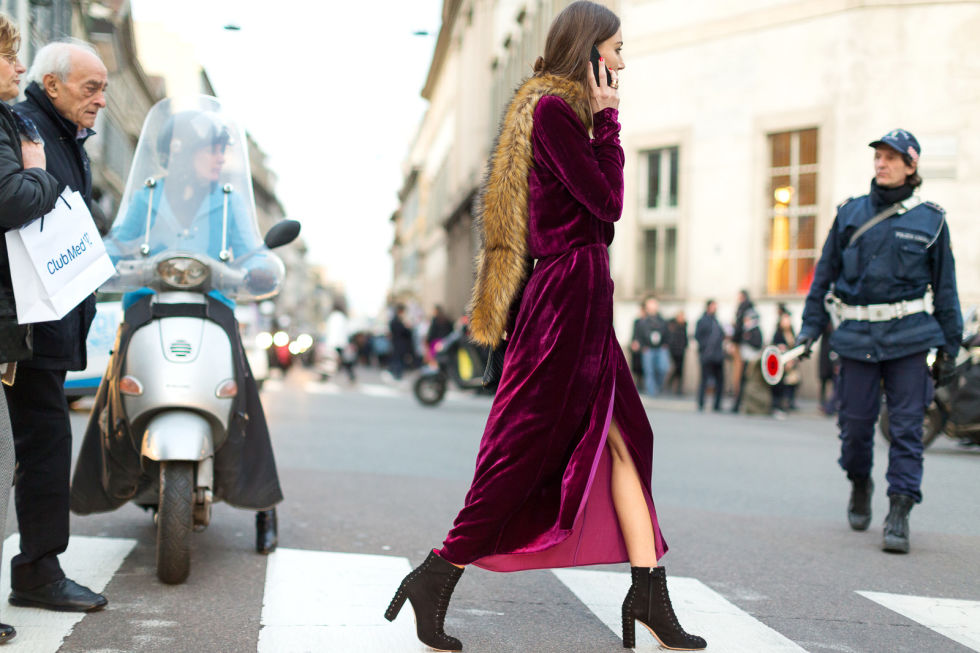 velvet dress crossing the street