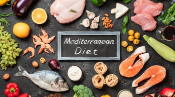 Mediterranean diet concept, flat lay