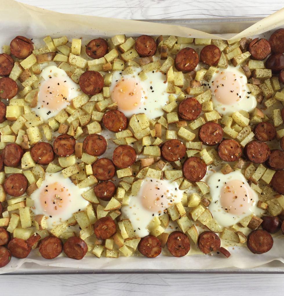 Sheet Pan Breakfast: Eggs, Sausage & Potatoes