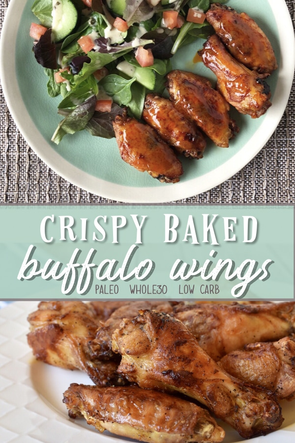 Crispy baked buffalo wings! These wings are healthy, low carb and Whole30 compliant! #buffalowings #whole30recipes #paleorecipes