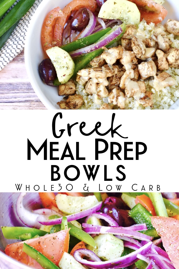 This delicious greek meal prep bowl is Whole30 compliant and kept friendly! It's a super easy and healthy make ahead lunch that has tons of flavor! #mealprepbowl #whole30recipes #ketorecipes
