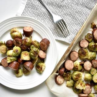 sausage and brussel sprouts sheet pan meal