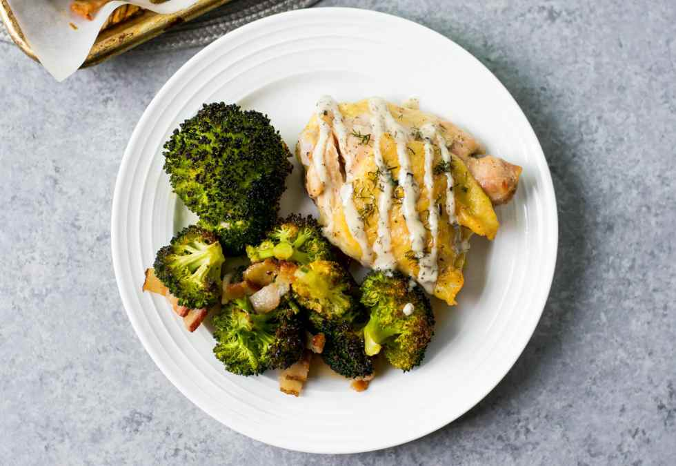 Chicken Bacon Ranch Sheet Pan With Roasted Broccoli (Whole30, Low Carb)