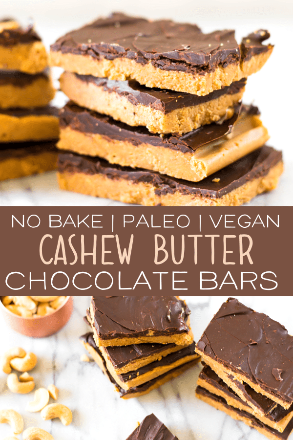 The Paleo Cashew Butter Chocolate Bars are the perfect no bake paleo, clean eating dessert! This recipe is easy, tasty and is made with only real wholesome ingredients. They're gluten free, vegan and just healthy all around! #paleo #paleodessert #paleorecipes