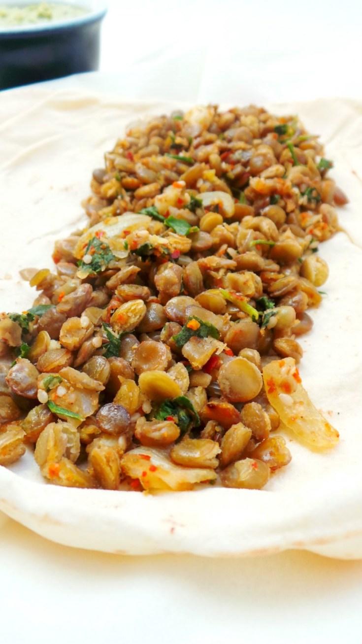 Delicious vegan lentil wraps - excellent vegan dinner idea!