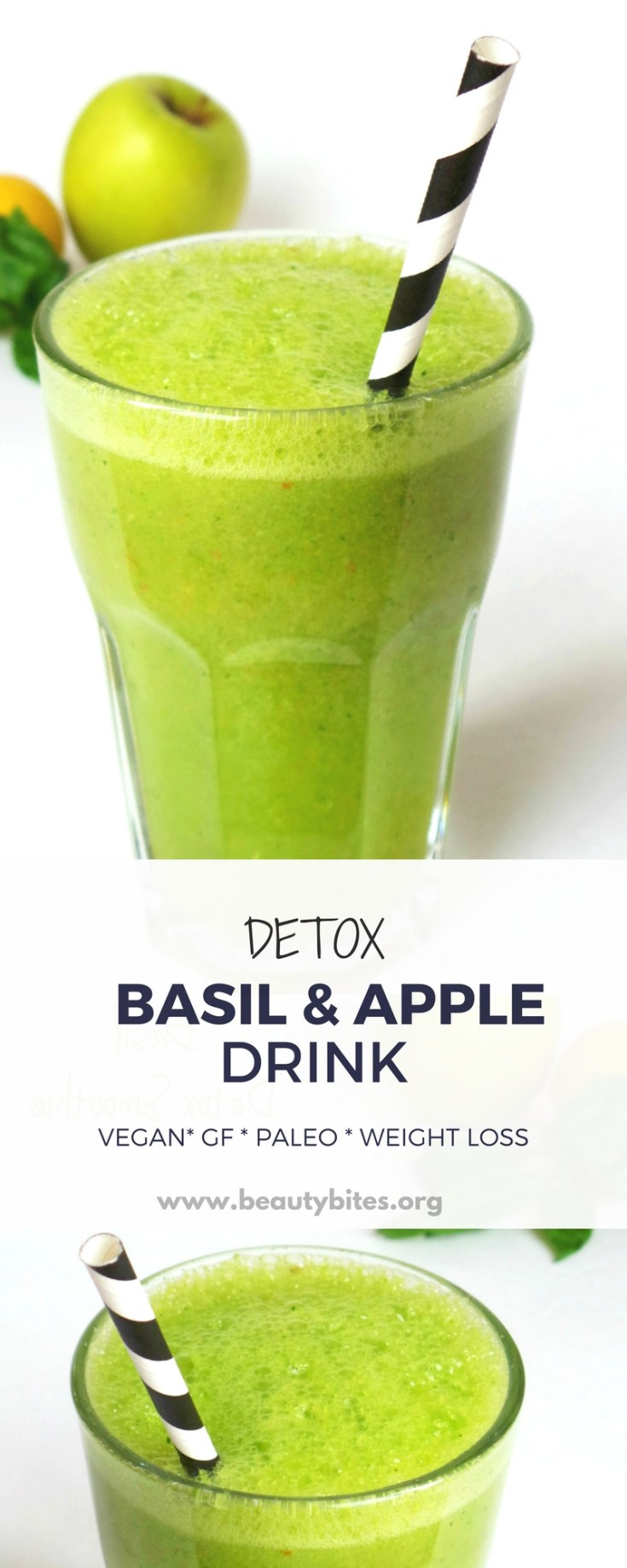 Basil and apple healthy green smoothie for detox and weight loss! This healthy smoothie recipe is vegan, gluten-free and paleo and helped me stay awake although I was working like crazy #greensmoothie #detox