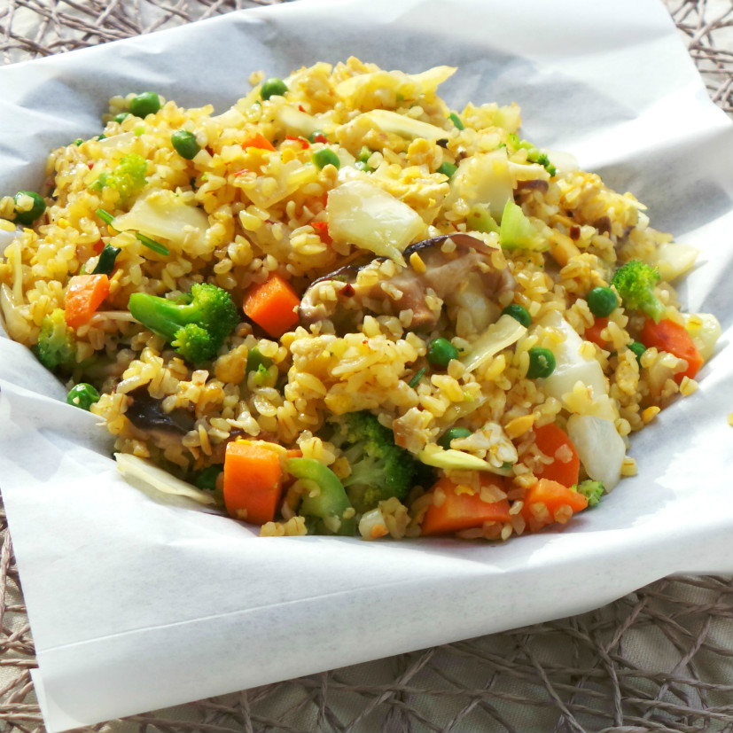 Healthy vegetable fried rice - a healthy high-fiber recipe!