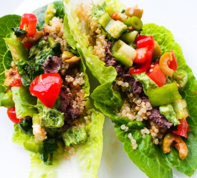 Quinoa and Bean Lettuce Wraps (Vegan & GF)