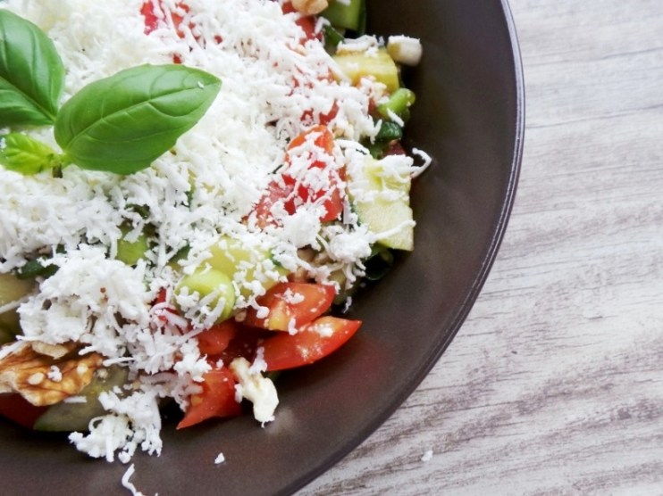 Simple tomato, cucumber and feta cheese salad