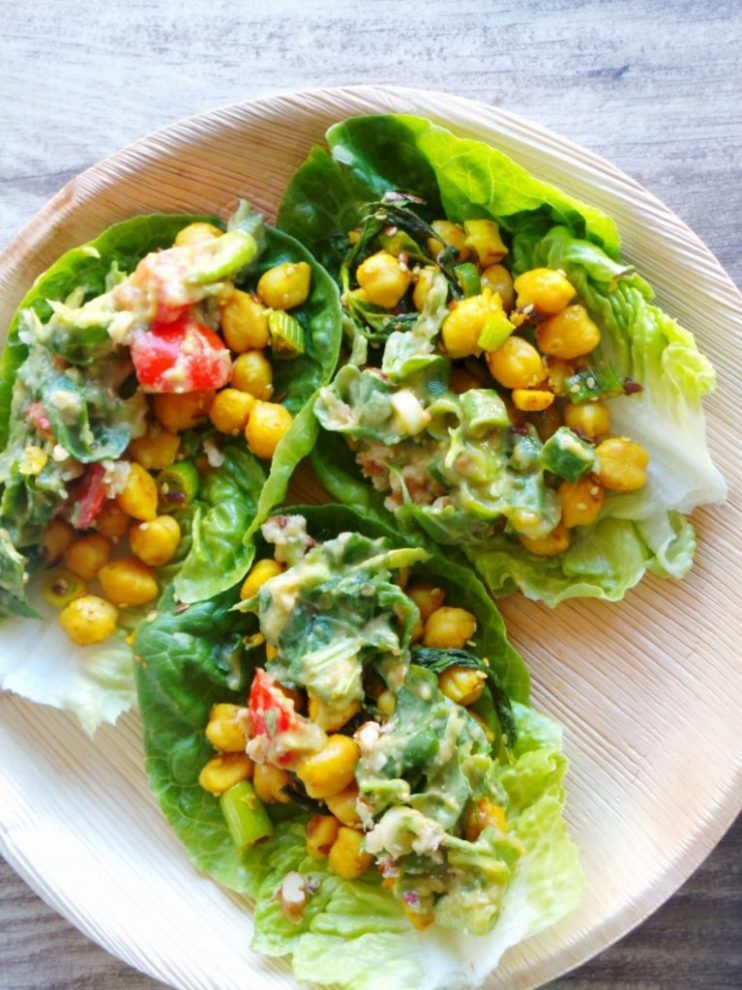 Curried chickpea lettuce wraps with avocado sauce