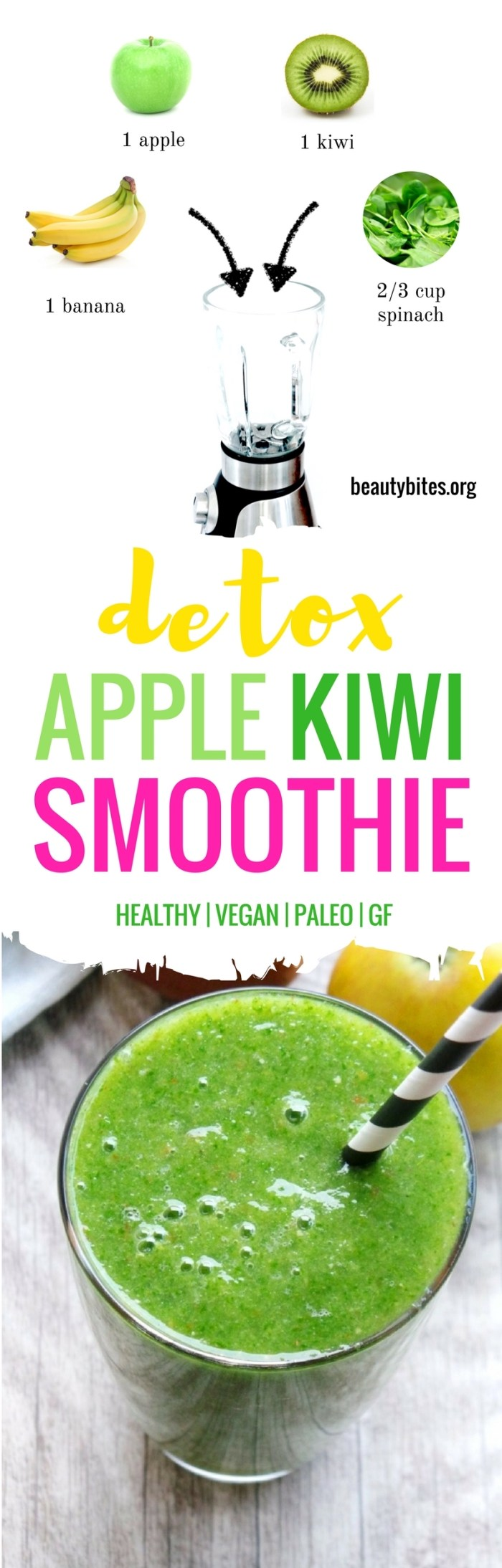 Super easy green smoothie! This is a refreshing healthy snack that can wake you from the afternoon nap at the office in seconds! | beautybites.org | healthy smoothie recipe