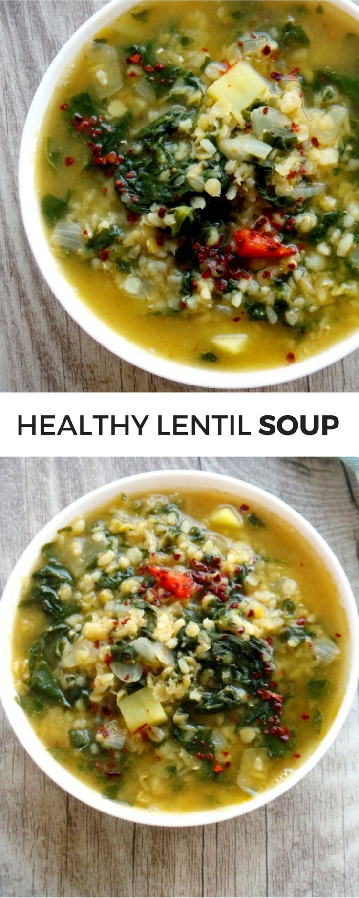 Easy healthy soup with lentils, bulgur and spinach! This easy vegan lentil soup recipe is simple and will keep you warm and healthy all winter long!