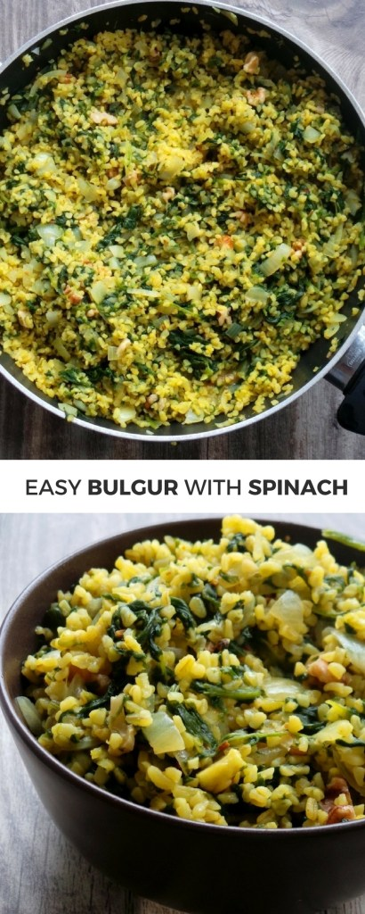 Easy vegan dinner recipe - bulgur with spinach! This high-fiber recipe is satisfying and super quick!
