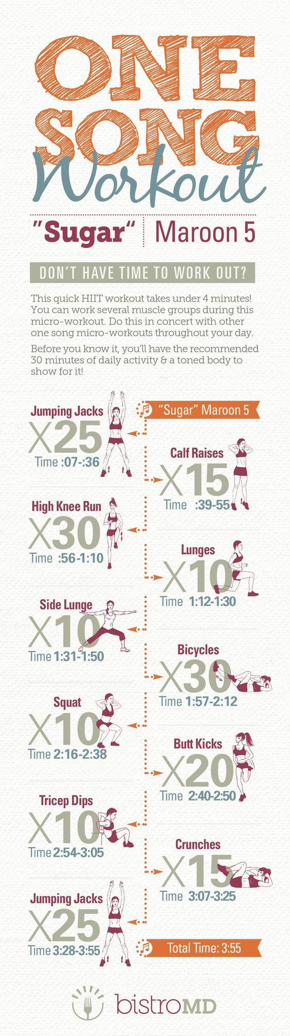 If you don't have time to work out, but want to stay in shape, this list with quick fat-burning tabata workouts will save you! Get fit and healthy in just a few minutes daily! All you need is 4-7 minutes to perform these short HIIT exercises. No equipment necessary - all bodyweight workouts, that you can do at home, or anywhere you want.