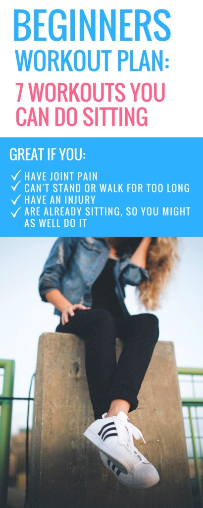 If you wanna lose weight, but can't stand for too long to walk or perform other exercise, I've got a Free 7-Days Beginner Workout Plan that you can do sitting in a chair! You can also find these workout videos helpful if you have joint pain, are overweight and can't perform most exercises or have an injury. These chair workouts are a lot of fun and aim to build strength and burn calories, while being easy on your joints.
