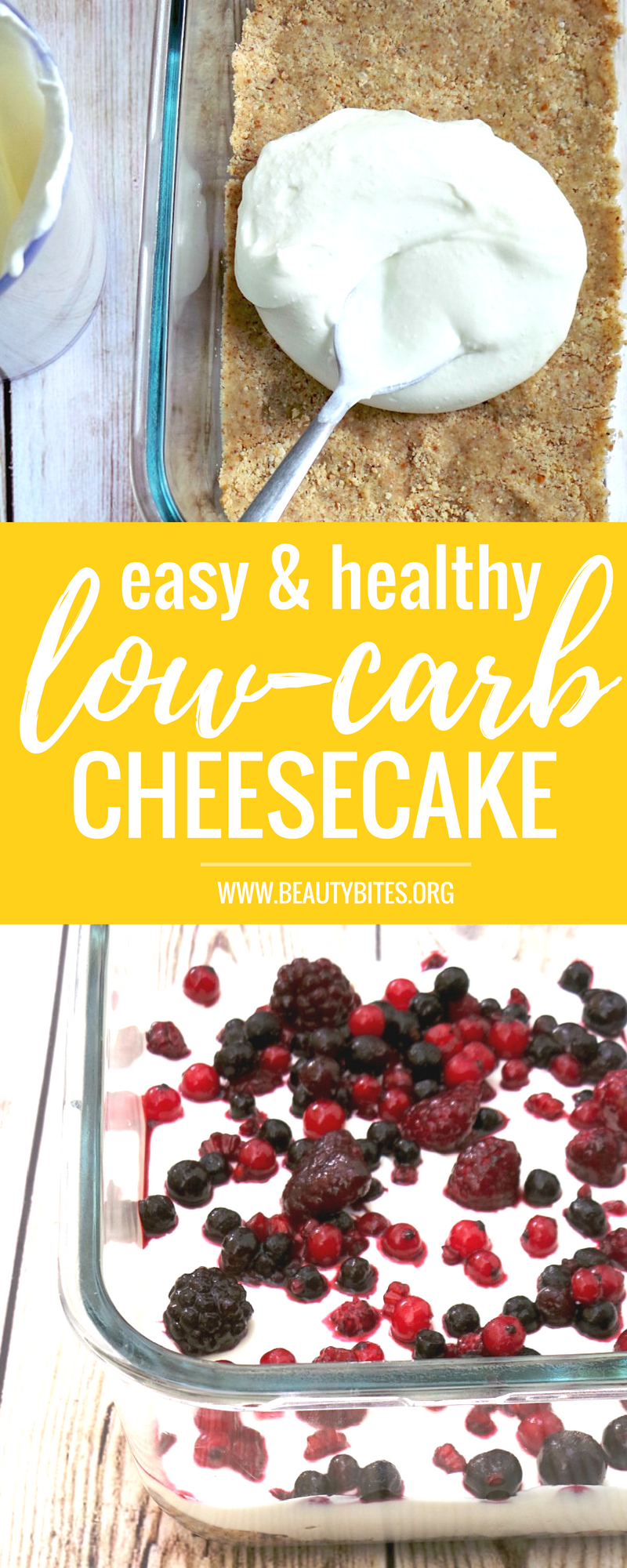 Easy low-carb cheesecake that is no bake, gluten-free and high-protein! This is a light delicious low-carb dessert recipe that won't skyrocket your blood sugar (I made this for my sister when she was pregnant & had gestational diabetes). Try it! | www.beautybites.org | Clean Eating Recipe