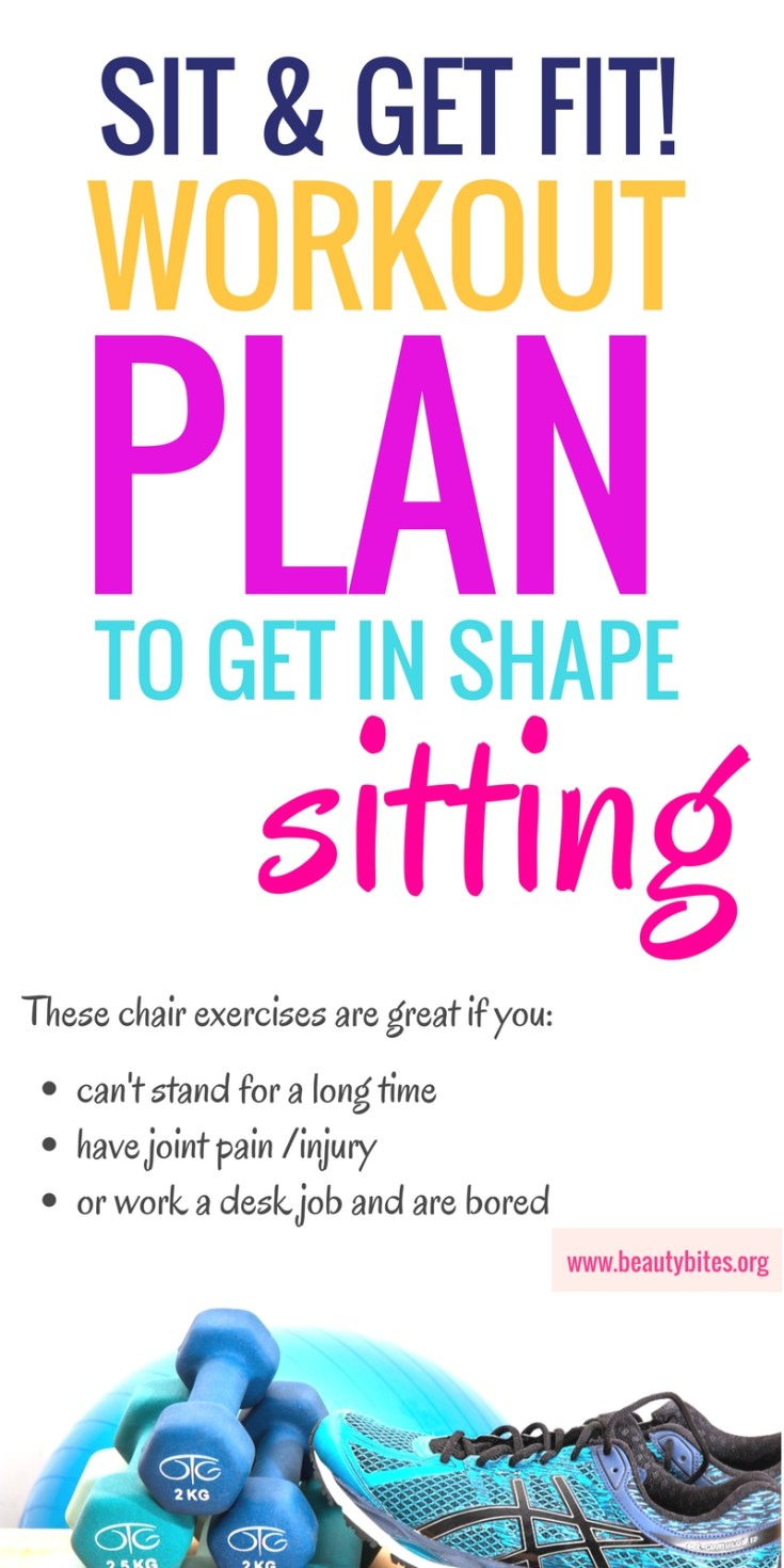 Try this one week beginner workout plan you can do at home and don't even need to stand up! This plan includes chair exercises, so it's perfect if you can't walk or stand for too long, have joint pain or an injury! Even if you're advanced, but work a desk job - these chair workouts won't leave you bored and snacking mindlessly while you're working! The aim of these chair workouts is to build strength and burn calories, while being easy on your joints. | beautybites.org | workout plan for beginners | workout plan for women