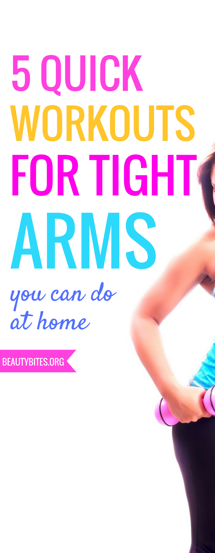 5 quick at home arm workouts for women! Tone your arms, get stronger & look great in a tank top (while waving) with these short exercise routines for women! You don't need any equipment and you can do these exercises really anywhere! * www.beautybites.org