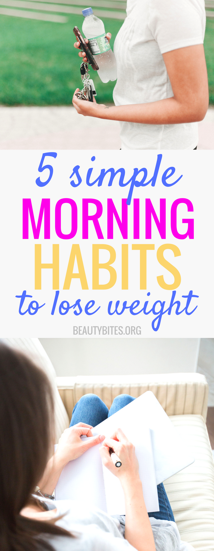5 simple morning habits to lose weight long-term! A healthy morning routine can really transform your life and I found these morning habits help me stay in shape and motivate me to work out and eat clean (well, at least most days)! If you want to improve your health & lose weight, but are just sick of eating 1200kcal/day without results, check out these health & fitness tips to find inspiration for a healthy lifestyle! | www.beautybites.org