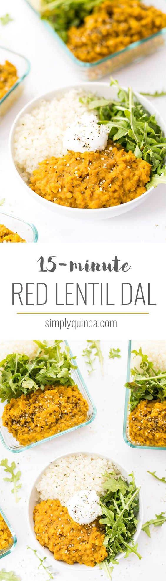 Meal Prep Easy Vegan Red Lentil Dal by Simply Quinoa