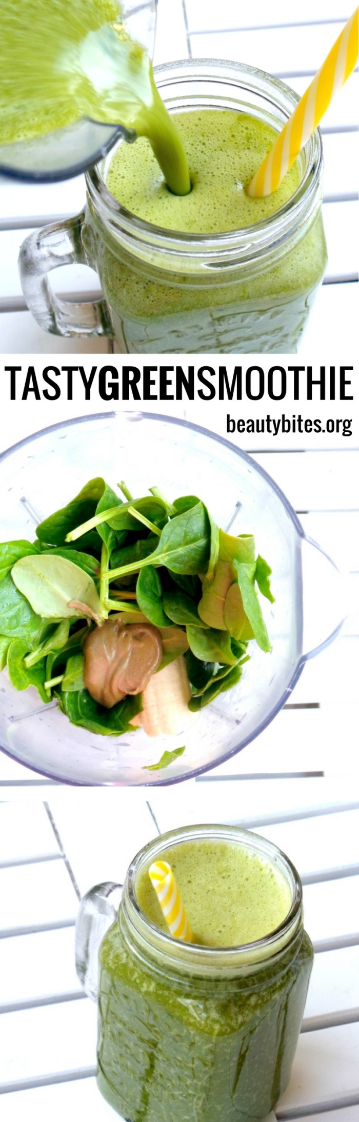 This healthy green smoothie is so tasty, I actually WANT to drink it every day. #greensmoothie