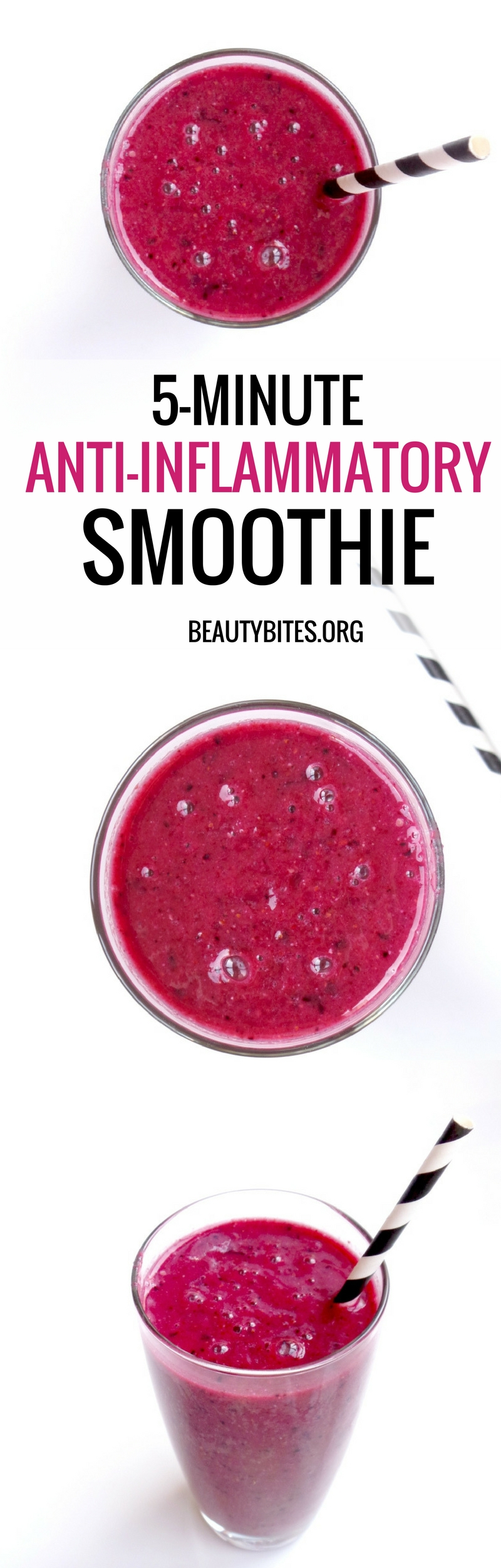 5-minute anti-inflammatory smoothie. Start your mornings with this simple anti-inflammatory recipe or have it as a healthy snack later during the day to easily add more antioxidants to your diet!