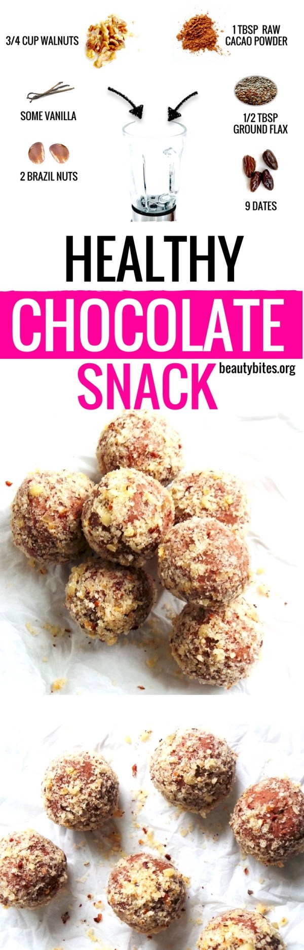 Satisfy your chocolate cravings with this healthy snack! These healthy chocolate balls are easy and quick, full of antioxidants, good source of omega-3's, paleo, vegan and gluten-free! | beautybites.org | easy healthy snack recipe