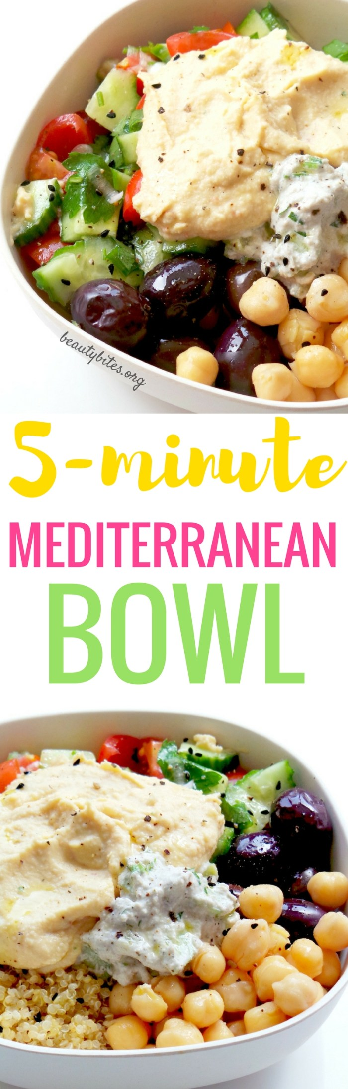 5-Minute Mediterranean Bowl - My Favorite Lunch Recipe! Try this healthy lunch recipe, it's also great to meal prep. You prepare everything and keep all parts in separate containers in the fridge (up to 3 days, except salad - but it takes only 2 minutes). Then arranging this beautiful & easy healthy bowl with quinoa & hummus takes around 5-minutes! It's vegan & gluten-free!Try it! www.beautybites.org/5-minute-mediterranean-bowl | healthy meal prep recipe | healthy salad recipe