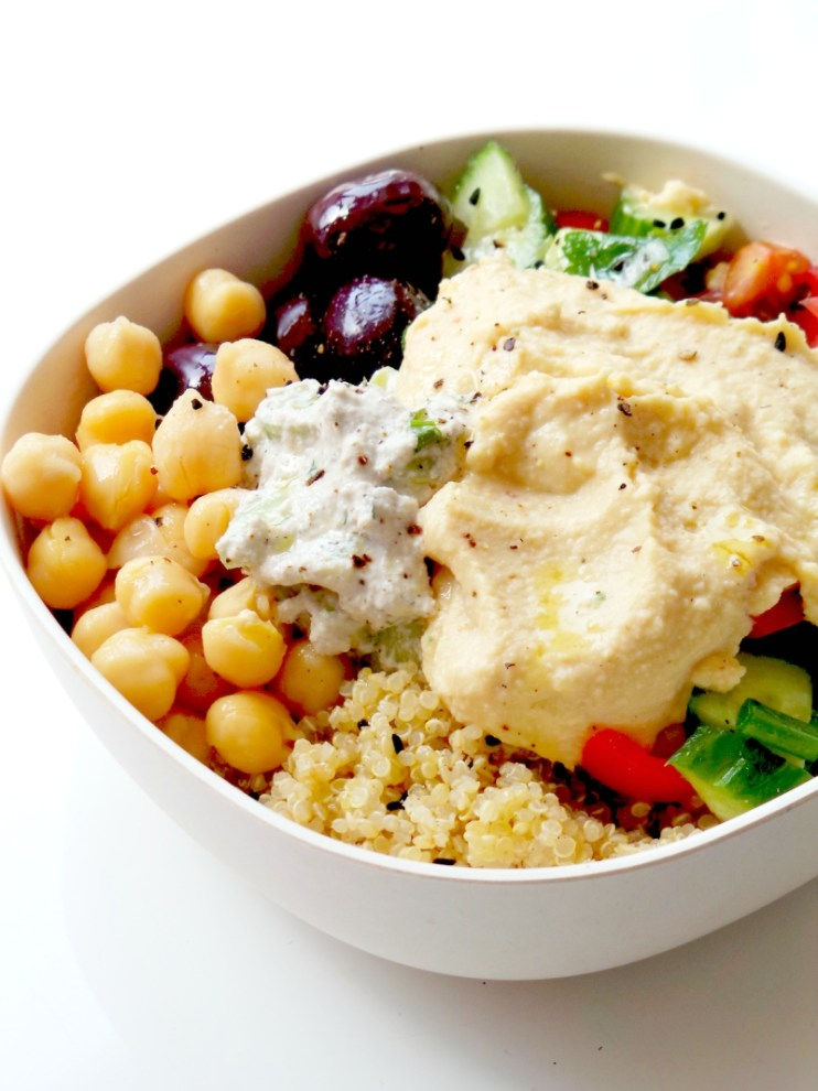 5-Minute Mediterranean Bowl! Try this healthy lunch meal prep recipe - you prep everything and keep all parts in separate containers in the fridge (except salad - it takes a minute). Arranging this beautiful & easy healthy bowl with quinoa & hummus takes around 5-minutes! It's vegan & gluten-free!