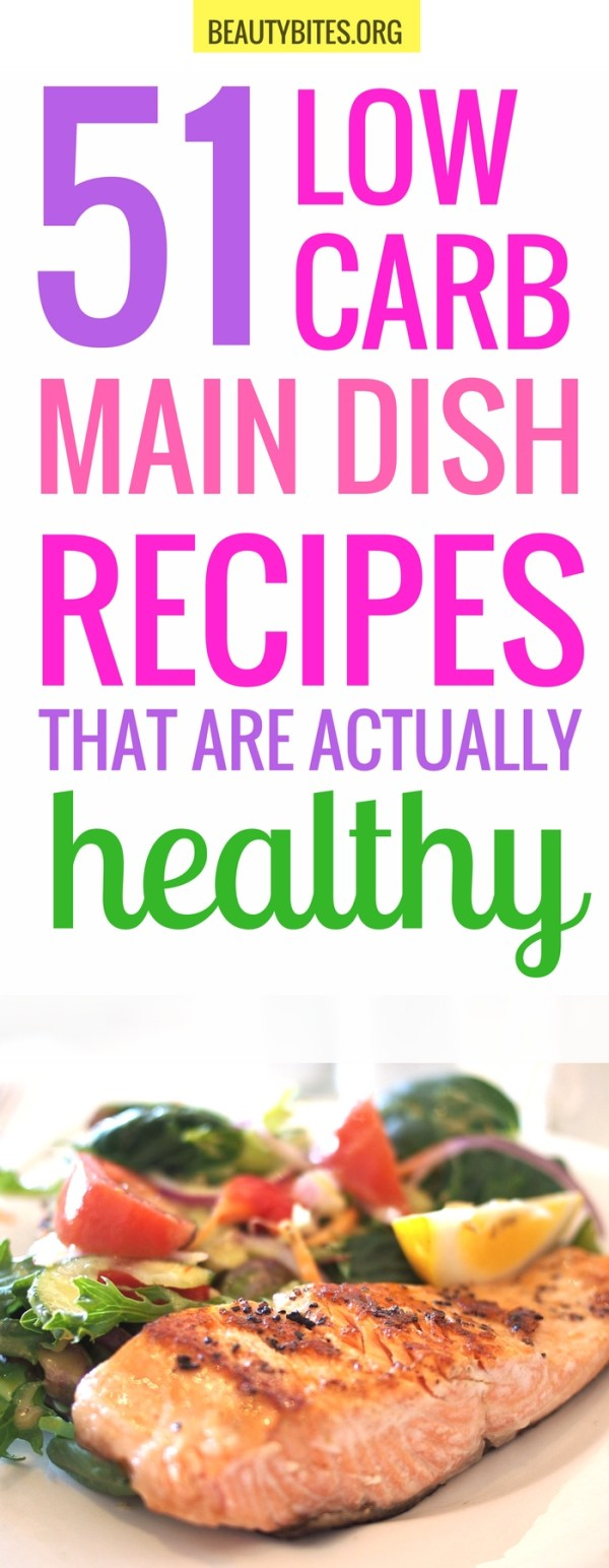 51 low carb recipes that are healthy and delicious! There's something for anyone on this list: 19 low carb meals with seafood, 13 low carb recipes with chicken + 19 vegan low carb recipes! | healthy low carb dinner recipes