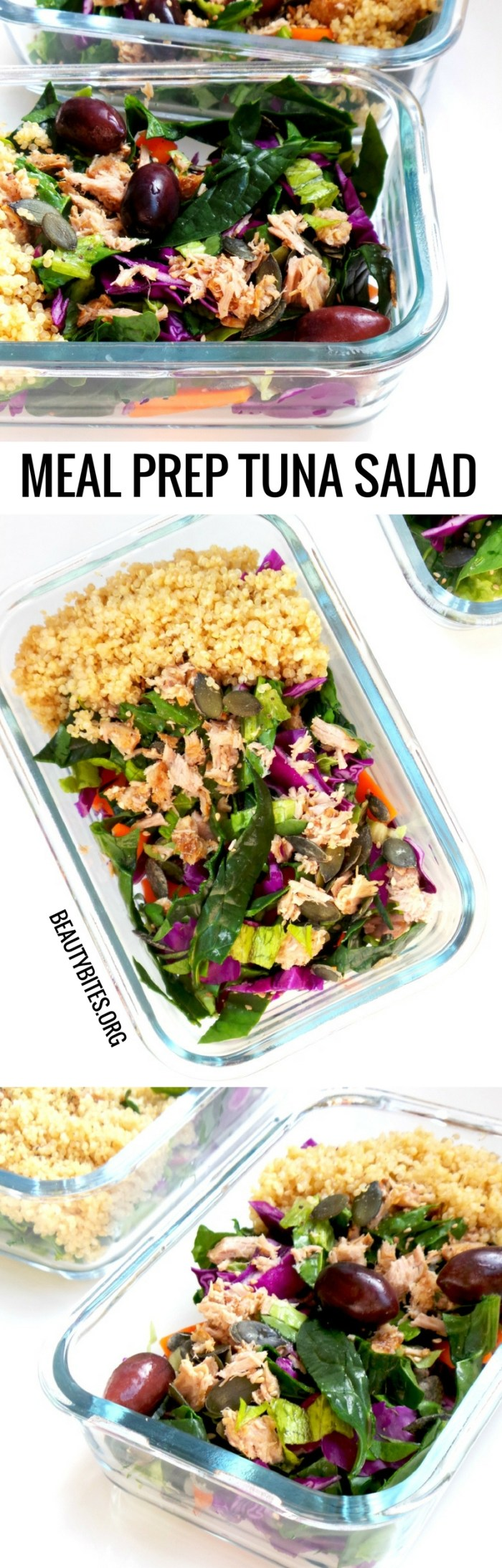 My Favortie Healthy Tuna Salad - The perfect high-protein recipe - fresh, satisfying and gluten-free. This healthy high-protein salad makes also a great meal prep recipe! | Meal Prep For The Week | www.beautybites.org/healthy-tuna-salad-with-meal-prep-option-high-protein-salad-recipe
