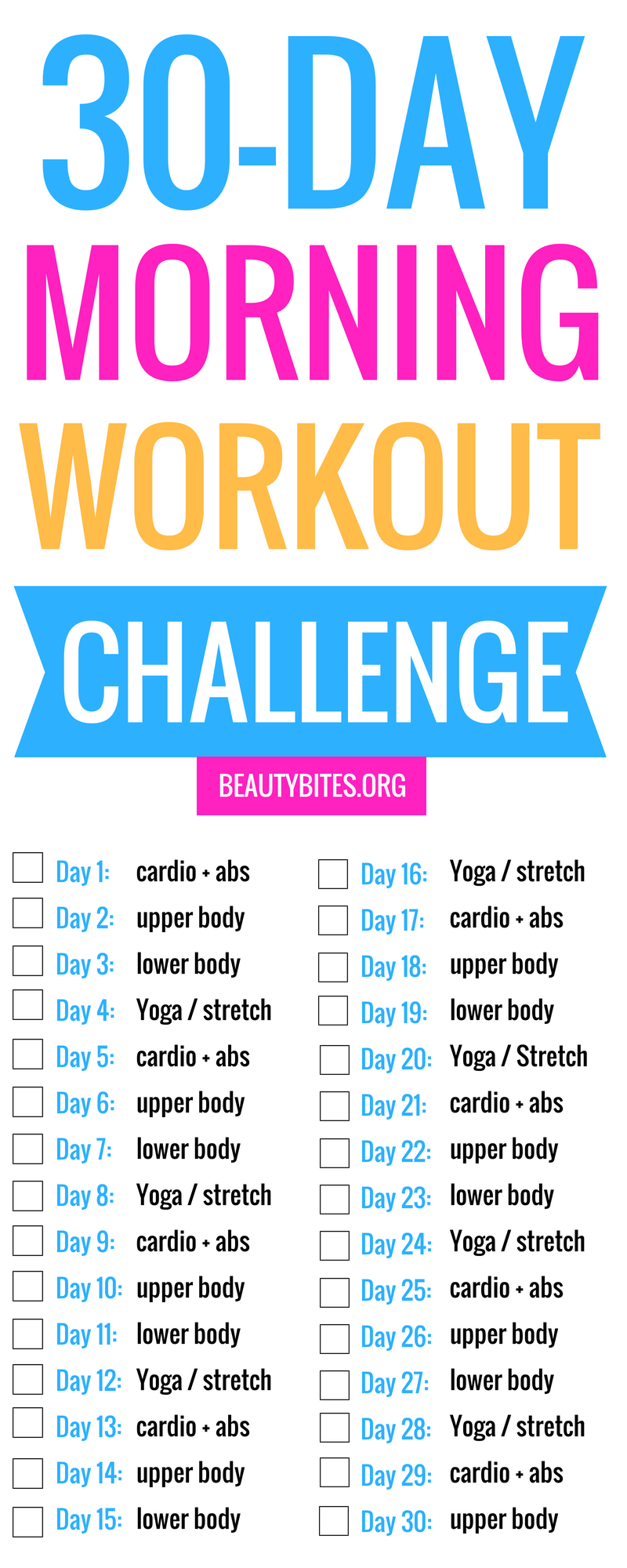 30-Day Morning Workout Challenge! You can exercise at home or at the gym - just do something every morning and enjoy the health benefits of morning exercise for the rest of the day! | www.beautybites.org | Workout Challenge For Beginners