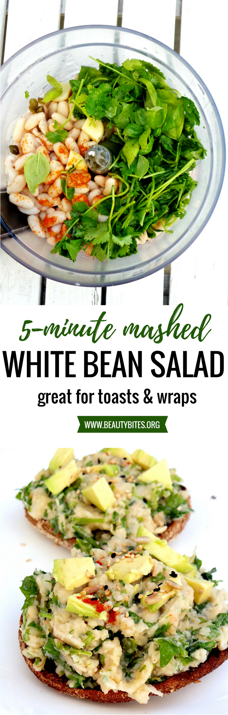 Easy vegan salad for sandwiches or wraps! You only need white beans, vegetables, a food processor and 5 minutes to make this - perfect if you're hungry and want to eat something healthy, but have not meal prepped! This is an easy and healthy lunch salad that will keep you full for longer! | www.beautybites.org