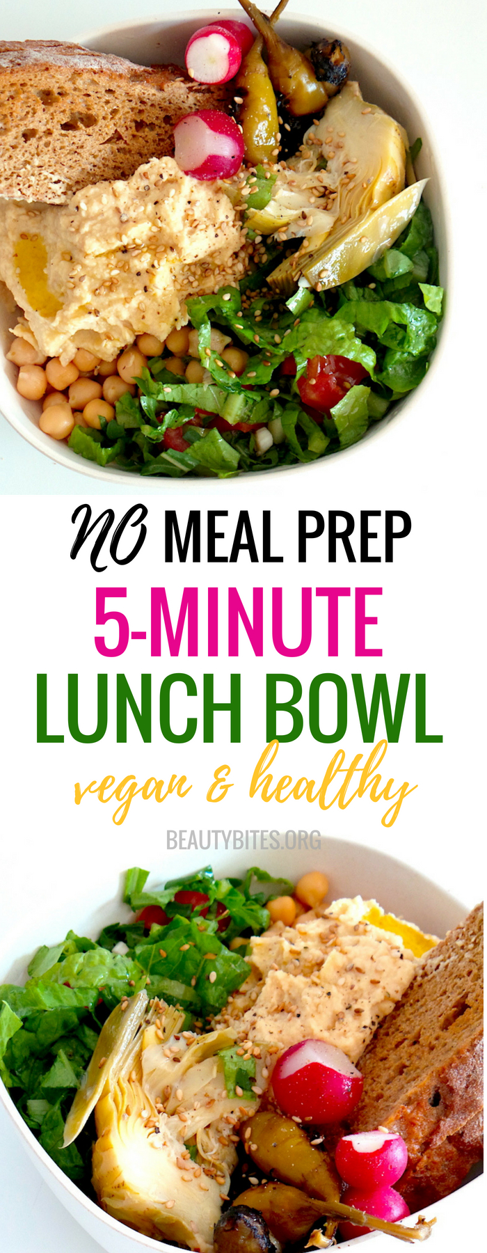 Make this vegan lunch bowl in less than 10 minutes! This is an easy healthy lunch recipe to help you lose weight, and stay on track with your diet even if you haven't meal prepped. Other than that, if you don't have the 10 min during the week, you can easily meal prep this recipe for the week ahead! | Healthy meal prep lunch recipe | www.beautybites.org