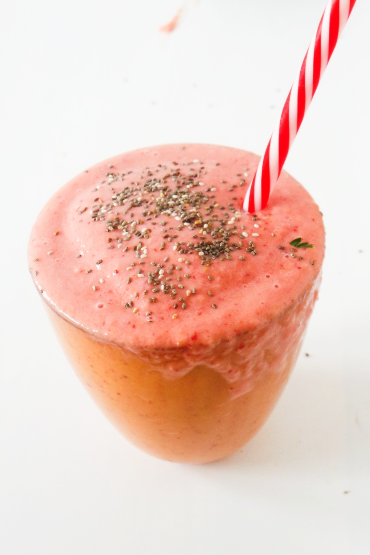 Strawberry Smoothie With Peaches