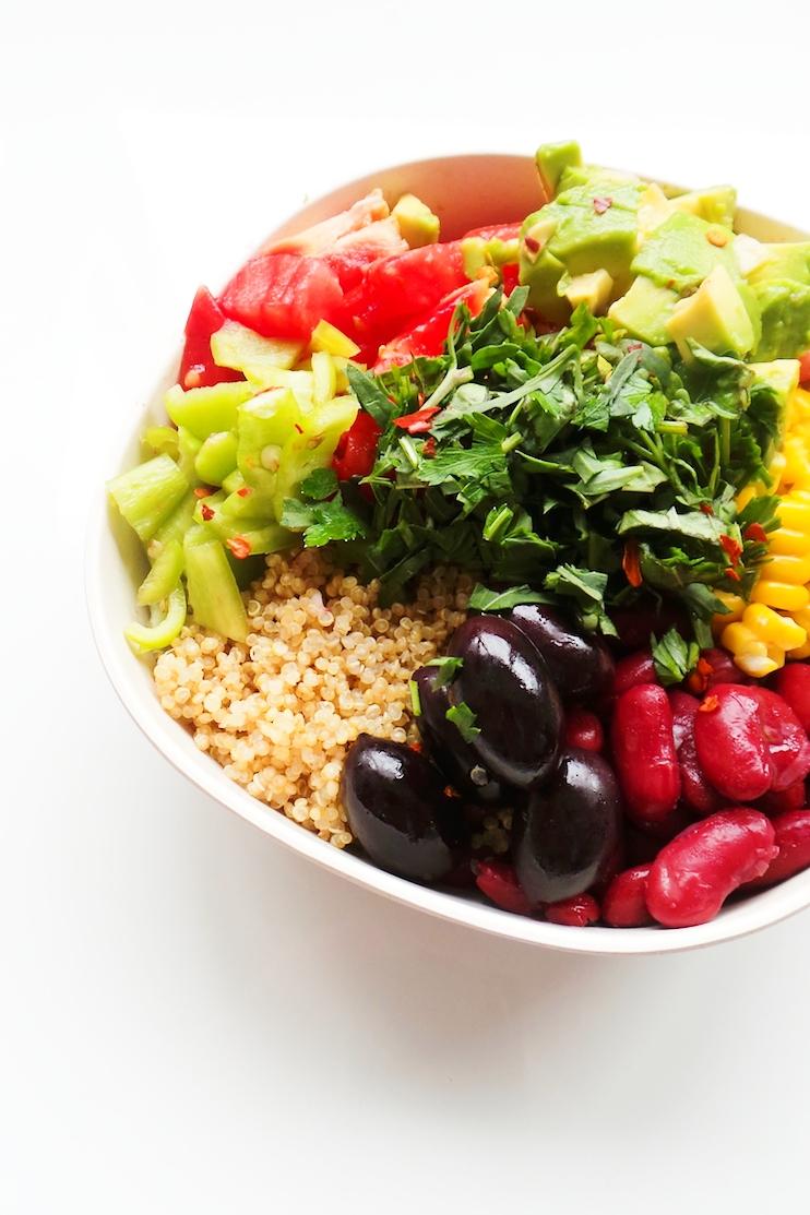 avocado, bean quinoa bowl - easy and healthy vegan meal prep recipe - delicious and healthy!
