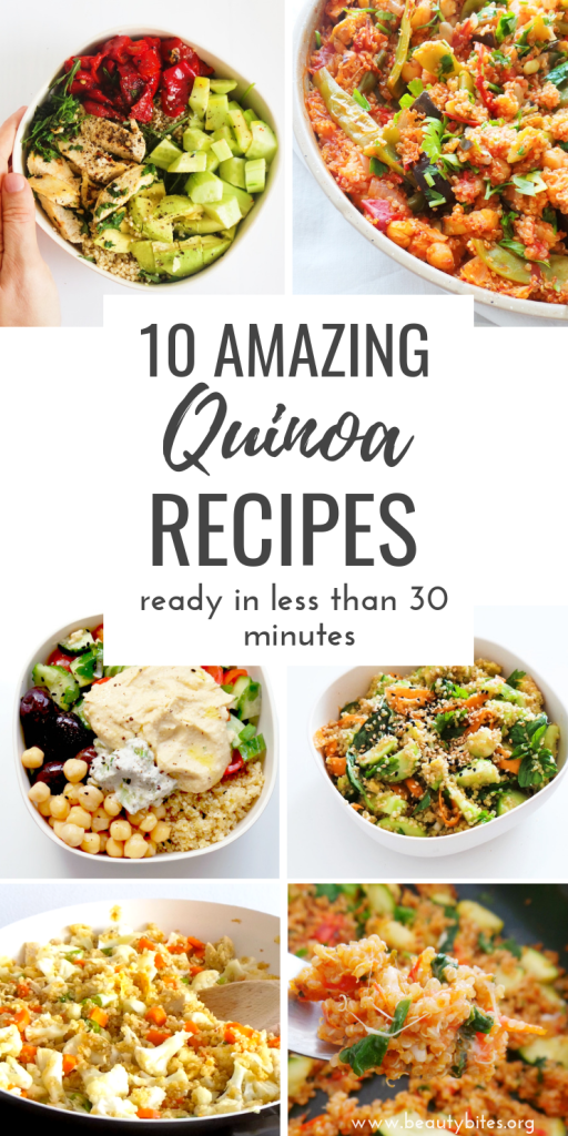 10 healthy quinoa recipes that are easy and you can make in 30 minutes or less. Including many healthy salad recipes with quinoa and delicious vegetarian and vegan quinoa dinner options!   clean eating recipes