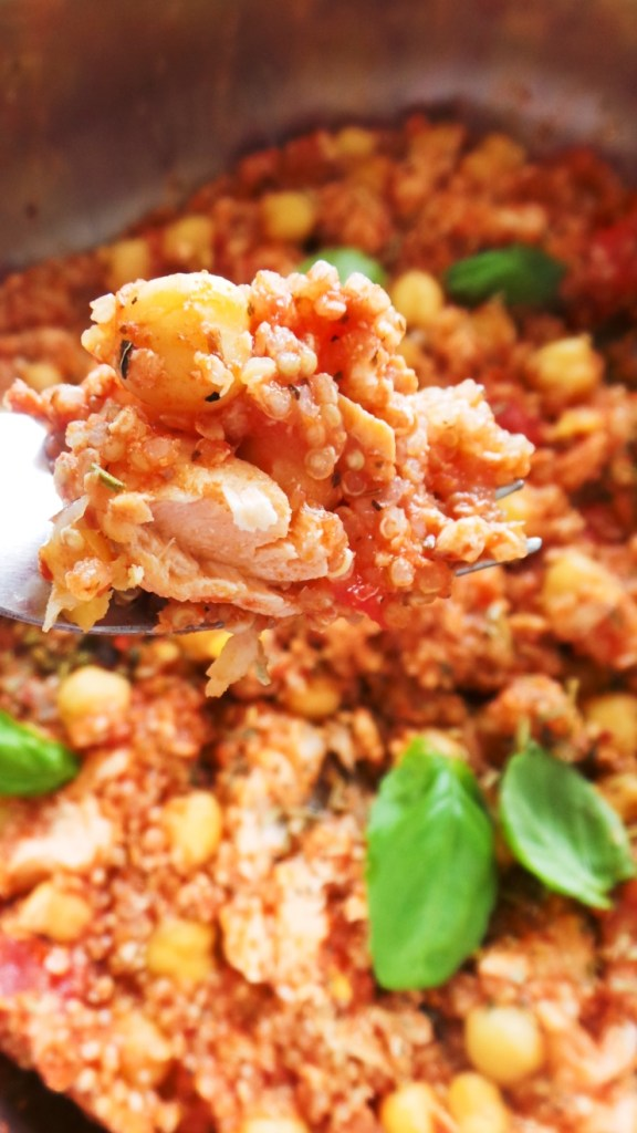 Easy Mediterranean Salmon With Quinoa And Chickpeas! Easy and healthy salmon dinner recipe you can make in one pan and around 20 minutes! It's gluten-free and dairy-free.   Clean Eating For Beginners