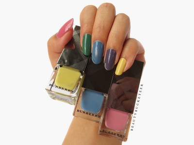 "Burberry Nail Polish Spring/Summer 2015 No. 415 ""Pale Yellow"", No. 431 ""Stone Blue"" and No. 402 ""Hydrangea Pink"""