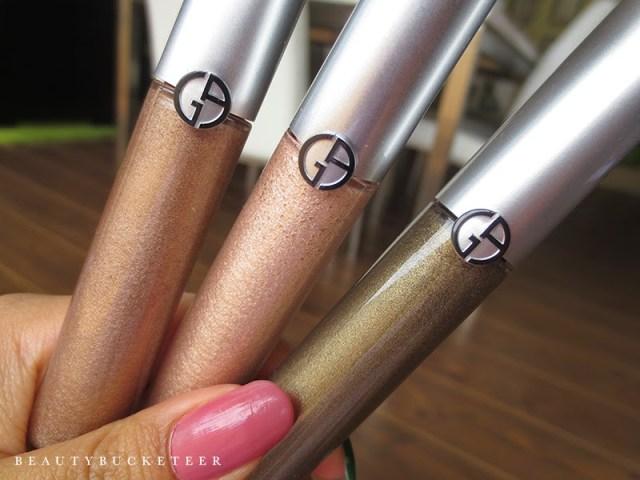 "L - R: Giorgio Armani Eye Tints ""9 Cold Copper"", ""12  Gold Ashes"" and ""6 Green Iron""."