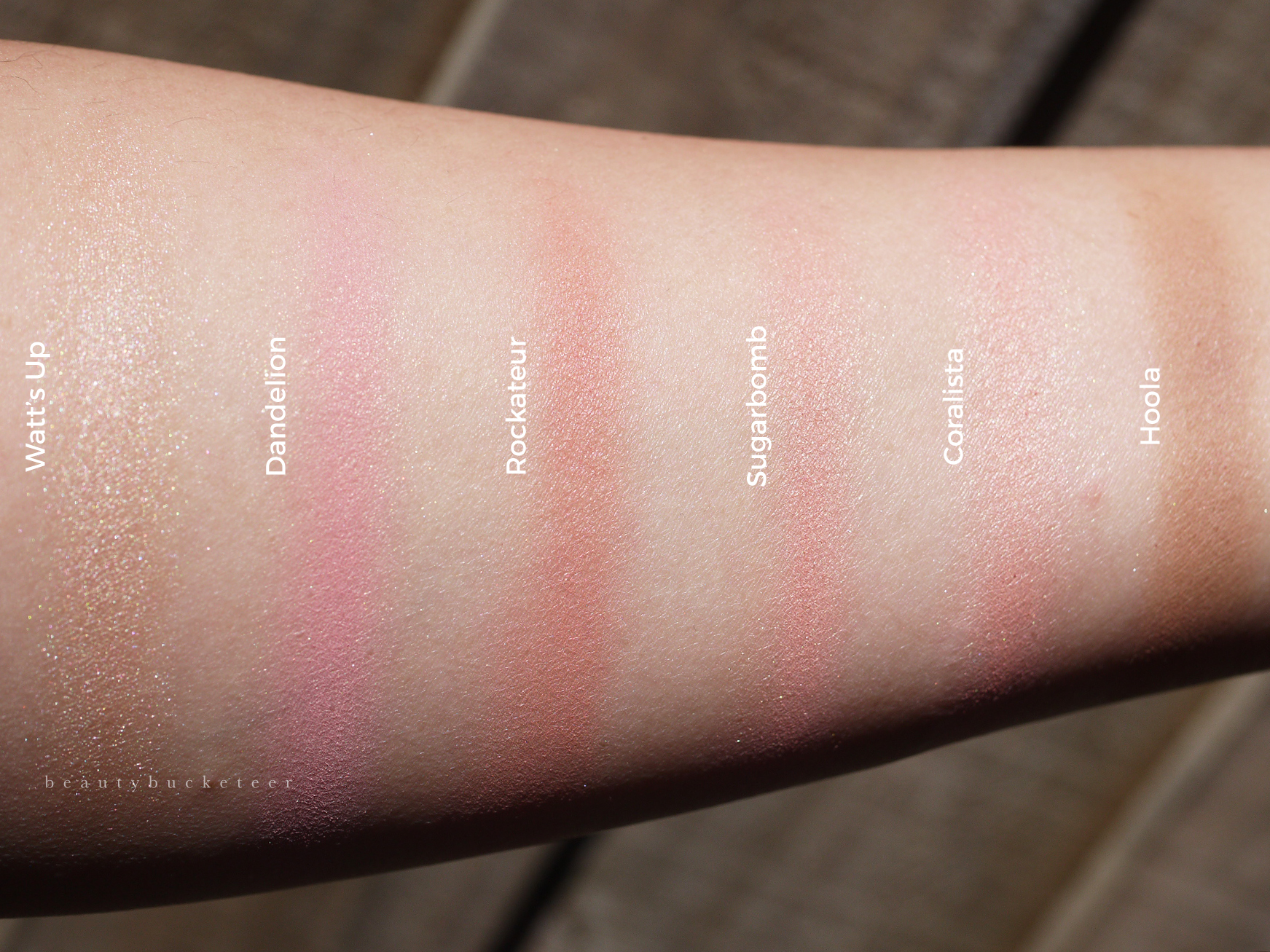 L - R: Benefit Watt's Up, Dandelion, Roackateur, Sugarbomb, Coralista & Hoola Swatches.