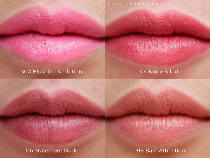 L'Oreal Infallible Pro Matte Gloss Swatches in Blusing Ambition, Nude Allude, Statement Nude and Bare Attraction.