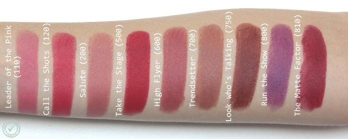 Rimmel The Only One Matte swatches