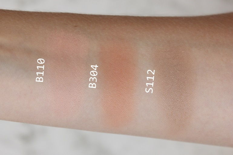make up for ever artist face color b110 b304 s112 swatch