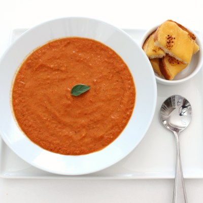 Creamy Sundried Tomato Soup with Gouda Cheese Crusts
