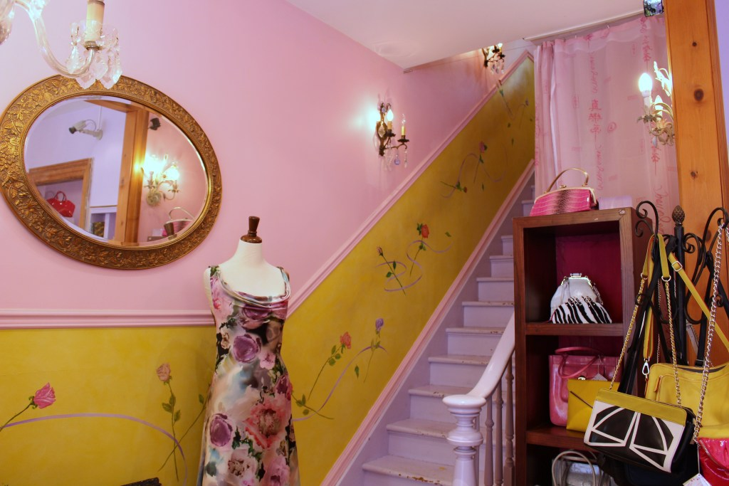 Pink staircase and feminine details...Jeanne Lottie is my kind of store!